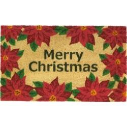 Merry Christmas Red Poinsettia Welcome Entry Door Mat Indoor Outdoor