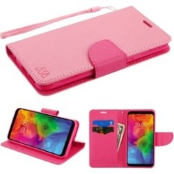 For LG Q7/Q7 Plus Hot Pink MyJacket Leather Fabric Case Cover w/stand Lanyard