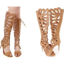 Cut Out Lace Up Gladiator High Heels Faux Leather