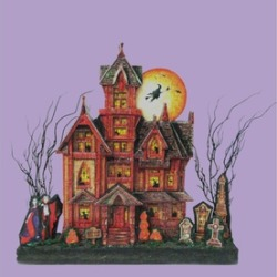 "17.5"" Battery LED Lighted Spooky Glittered Halloween House Decoration"