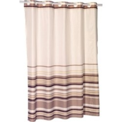 Carnation Home Fashions EZ-ON Stripes Polyester Shower Curtain in Brown