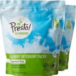 Presto! 94% Biobased Laundry Detergent Packs, Fragrance Free, 90 Loads
