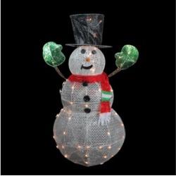 """48"""" 3-D Light Glittering Mesh Winter Snowman Christmas Yard Art D""""cor"""