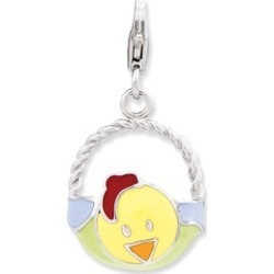 Sterling Silver Enameled 3-D Baby Hen Basket w/Lobster Clasp Charm