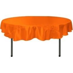 LA Linen TCbridal72R-OrangeB48 Bridal Satin Round Tablecloth Orange - 72 in.