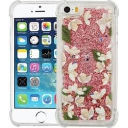 Insten Quicksand Glitter Flowers Case For iPhone 5/5S/SE - Rose Gold