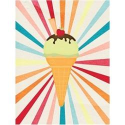 Carolines Treasures Ice Cream With Strawberry On Top Flag Canvas