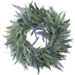 "10"" Artificial Dusty Purple Decorative Springtime Wispy Lavender Wreath"
