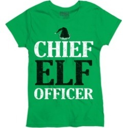 Funny Christmas T Shirt Chief Elf Officer Santa Hat Womens Tee