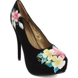 Faux Suede Floral Decor Pump Stiletto Heels Black