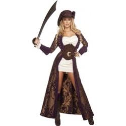 Roma 6pc Decadent Pirate Diva Dress Long Brocade Jacket Deluxe Costume