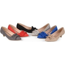 Journee Collection Womens Ruffle Faux Suede Kitten Heels