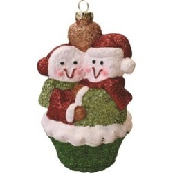 """5"""" Merry & Bright Green Red White Snowman Couple Christmas Ornament"""