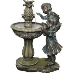 Alpine Boy and Girl Fountain w/ Pineapple Top, 27 Inch Tall