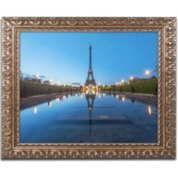Mathieu Rivrin 'Blue Hour in Front of the Eiffel Tower' Ornate Framed