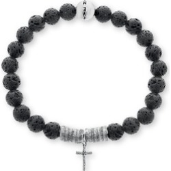Stainless Steel Mens Cross Beaded Stretch