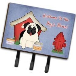 Carolines Treasure BB2758TH68 Dog House Collection Pug Cream Leash or Key Holder