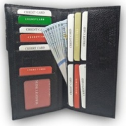 CC Holder Black Genuine Leather Long Purse for Women