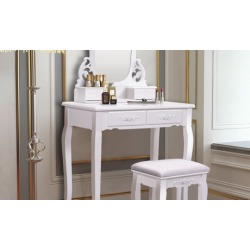 White Vanity Jewelry Wooden Makeup Dressing Table Set bathroom