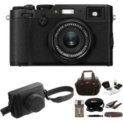 Fujifilm X100F Digital Camera (Black) with Leather Case and Accessories Bundle