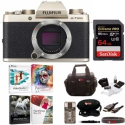 Fujifilm X-T100 Mirrorless Camera (Gold) with 64GB Card and Accessories Bundle