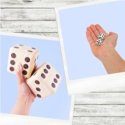5 Giant Solid Wood Dice in a Burlap Bag