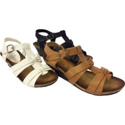 Women's Open Toe Leather Wedge Sandals