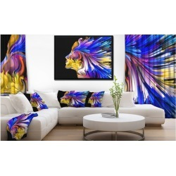 Imagination in Blue - Abstract Framed Canvas Art Print
