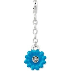 Silver Blue Enamel Flower Synthetic CZ 1/2inch Dangle Enhancer