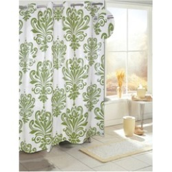 Carnation Home Fashions EZ-ON PEVA Beacon Hill Shower Curtain in Sage on Ivory