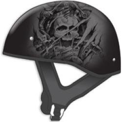 GMAX HH-65 Naked Tormentor Flat Black/Silver Half Helmet