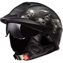 LS2 Rebellion Bones Matte Black Half Helmet