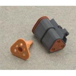 NAMZ Custom Cycle Deutsch 3-Pin Black Plug Wiring Connector