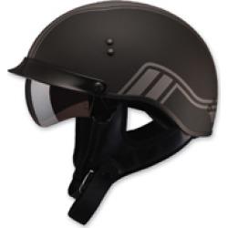 GMAX HH-65 Full Dressed Twin Flat Black/Silver Half Helmet