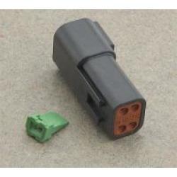 NAMZ Custom Cycle Deutsch 4-Pin Black Receptacle Wiring Connector