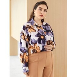 Plus All Over Floral Print Button Front Drop Shoulder Blouse found on Bargain Bro from Sheinside for USD $12.16