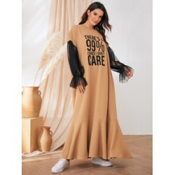 Slogan Print Mesh Flounce Sleeve Hijab Dress