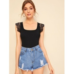 Contrast Lace Armhole Top found on Bargain Bro Philippines from Sheinside for $6.00