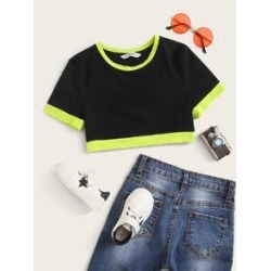 Girls Contrast Trim Crop Top found on Bargain Bro from Sheinside for USD $4.56