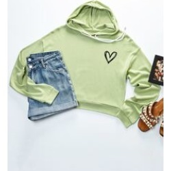 Plus Heart Print Hooded Sweatshirt found on MODAPINS from Sheinside for USD $18.00