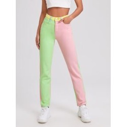 Colorblock Straight Leg Jeans