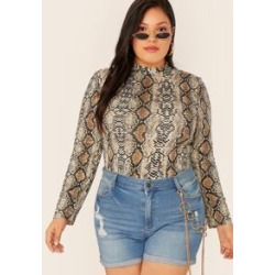 Plus Snakeskin Print Mock-neck Top found on Bargain Bro Philippines from Sheinside for $9.00