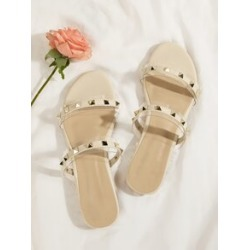 Studded Decor Open Toe Sliders found on Bargain Bro India from Sheinside for $18.00