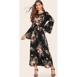 Self Tie Floral Print Maxi Dress
