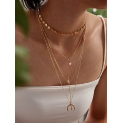 Cross & Rhinestone Engraved Star Charm Layered Necklace 2pcs found on Bargain Bro Philippines from Sheinside for $3.00