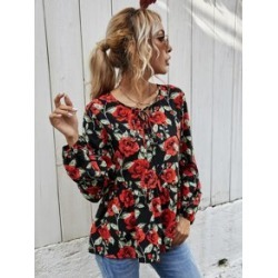 All Over Floral Print Tie Neck Peplum Blouse found on Bargain Bro from Sheinside for USD $9.88