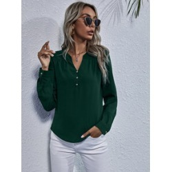 Notched Neck Long Sleeve Blouse