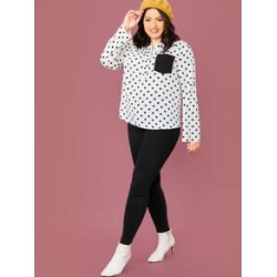 Plus Notch Neck Pocket Patched Polka Dot Top found on Bargain Bro India from Sheinside for $14.00