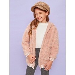 Girls Striped Trim Pocket Front Teddy Jacket found on Bargain Bro Philippines from SHEIN for $20.72