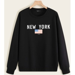 Plus American Flag & Letter Graphic Lined Sweatshirt